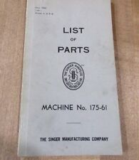 1941 Singer Sewing Machine Parts Book No 175-61