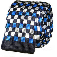 New Luxury Mens Blue Sky Blue Checkered Woven Tie Necktie Solid Knitted Skinny