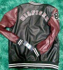 TOMMY HILFIGER Size XLT Maroon Sleeved Black Faux Leather...