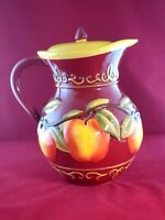 "Nonni's Biscotti Big Red 11"" Pitcher Embossed Apples Ceramic Cookie Jar w/Lid"