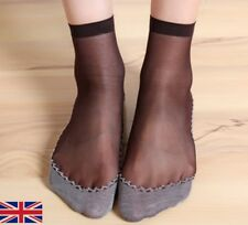 Women's Black and Grey Soft Cotton Comfy Sheer Silk Breathable Mesh Socks - UK
