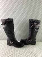 ALDO Black Leather Side Zip Faux Fur Lined Mid Calf Boots Women's Size 7.5