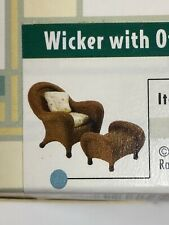 "Vtg Raine ""Take a Seat"" Miniature Wicker Chair w/ Ottoman #24012 w/Coa - Nib"