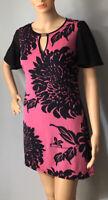 Star Julien Macdonald Short Floral Shift Dress Stretch UK Size 8 Black pink New