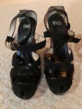 Dolce & Gabbana Black Suede/Leather Block Heel Sandals Shoes - Size 5 (EU 38)