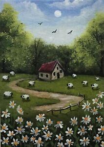 ACEO Original Halloween Acrylic Sketch Card Landscape Farm House Sheep Daisies