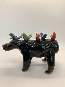 Marvin Bailey Folk Art Pottery (Lynn Bailey) Bull With Five Birds On Back