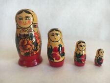 Russian Matryoshka Nesting Dolls Genuine Set of 4 With Sticker