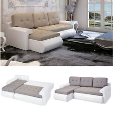Modern Faux Leather & Fabric Corner Sofa Bed 3 Seater With Storage Black & White
