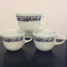 Vintage Pyrex Corning Old Town Blue Onion Coffee - Tea Cups Milk Glass  SET of 3