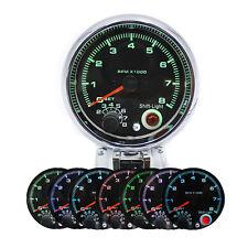 "95mm 3.75"" Tachometer 0-8000RMP Cars Gauge Digital Pointer 7 Colors LED Display"