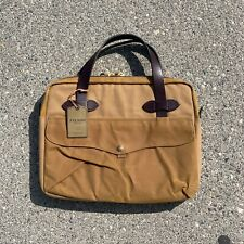 Padded Filson Tablet Rugged Twill Original Briefcase with Leather - Tan