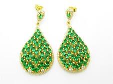 GOLD SILVER DIAMOND SET GREEN & WHITE SAPPHIRE BRIDAL VINTAGE CHANDELIER EARRING