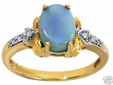 1.10ctw Diamond & Opal Ring 14K Yellow Solid Gold