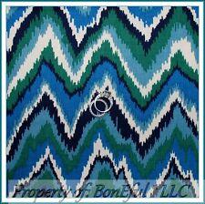 BonEful Fabric FQ Cotton Quilt Blue Green White Chevron Stripe Ocean Beach Retro