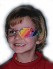 Rainbow striped eye patch for lazy eye.