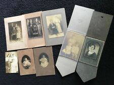 Old Photos Black and White Family Portraits 1800s Vintage. 8 photos. Orig. print