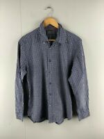 Sportscraft Mens Blue Check Tapered Fit Long Sleeve Button Up Shirt Size Medium