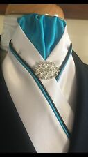 HHD White Satin Dressage Showjumping Show Stock Tie Aqua & Navy Blue Piping