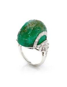 925 Sterling Silver Green Carved Emerald Vintage Style Baguette Handmade CZ Ring