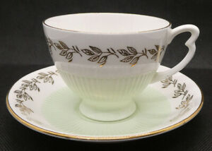 Colclough Bone China Tea Duo of Cup and Saucer with Green Ribs and Gold Trim