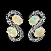 Unheated Oval Fire Opal Rainbow Full Flash 7x5mm Cz 925 Sterling Silver Earrings