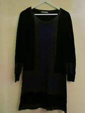 Black Grey & Purple M&S Short / Mini Thin Knit Jumper Dress in Size 12