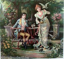 Music Box lid cover picture image antique vintage rococo scene w. roses pigeons