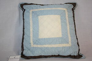 Nautica Hadden Heights brown blue white quilted Decor Bed square 16in Pillow new