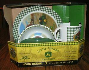 John Deere Gibson LITTLE FARMER 3 Pc Kids Dinner Set Plate Cup Bowl Zolan pedal