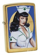 BETTIE PAGE Brass Brushed Pinup-ZIPPO Spring 2018 neu+ovp