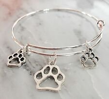 3 Dog Paw Print Silver charms Expandable Bangle Bracelet