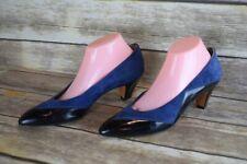 Vintage Bally Blue Suede Black Leather Pointed Pumps Heels 10N