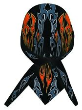 Dare Devil Black Orange Flames Doo Rag Headwrap Skull Cap Sweatband Capsmith