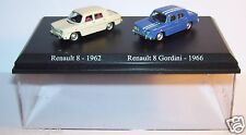 COFFRET ATLAS DUO 2 METAL UH  NOREV RENAULT R8 8 1962 CREME GORDINI 1966 HO 1/87