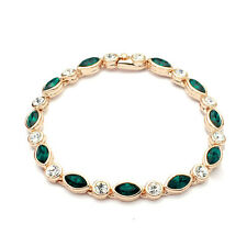 18K GOLD PLATED & GENUINE EMERALD GREEN & CLEAR CUBIC ZIRCONIA TENNIS BRACELET