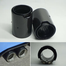 Pair 67mm Car Exhaust Tip End Pipe Glossy Carbon Fiber + Stainless Steel for BMW