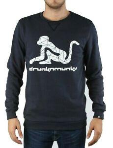 Discount 50% DRUNKNMUNKY Sweatshirt Crew-Neck Blue Logo Monkey Jersey Heavy