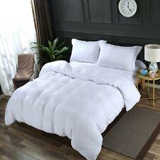 White Bed Set: Washed Microfiber Duvet Cover Set+Size-Matching White Comforter