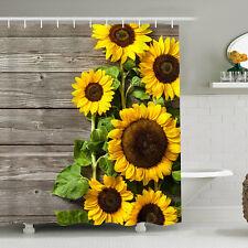 Art Sunflower Pattern Shower Curtain Bathroom Waterproof Curtain Decor with Hook