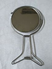 Vintage Portable Traveling Metal Hand Mirror Retro Folding Two Sided Travel Bath