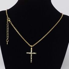 Gold & CZ Stone Cross Necklace - New