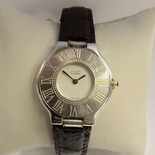 "MUST DE CARTIER 21 SS & 18K GP UNISEX WATCH QUARTZ BROWN LEATHER BAND 5"" WRIST"