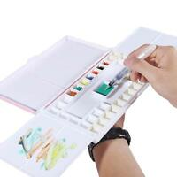 Travel Watercolor box with Foldable Paint Palette, Porcelain Water Dish+36 Wells