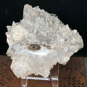 Natural Crystal Cluster Quartz Mineral Specimen Hand-carved Eye of Providence