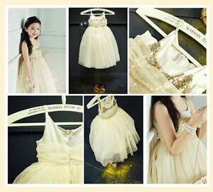 Gold Glitter Christmas Flower Girls Dress Size 2-3 3-4 4-5 5-6 7-8