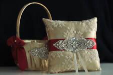 Lace Bearer Pillow Red Gold Wedding Flower Lace Ring bearer Girl Basket Set