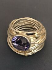 Designer Boaz Kashi Sterling Silver & 18k Wire Ring With Amethyst & Daimond