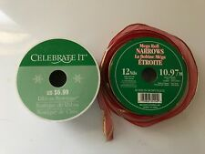 2 Christmas Craft Pacage Ribbons Snowmen On Green Red Gold Edge Wire Trim Nice @