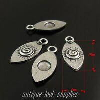 100PCS Amusing Antique Silver Tone Alloy Eyes Pendant Charms 18*9*1mm 38301